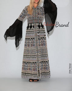 Version 5 Silver Palestinian Queen Thobe Embroidered Dress Long Sleeve Palestinian Design And Embroidery