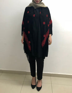 Classy black and red embroidered shawl