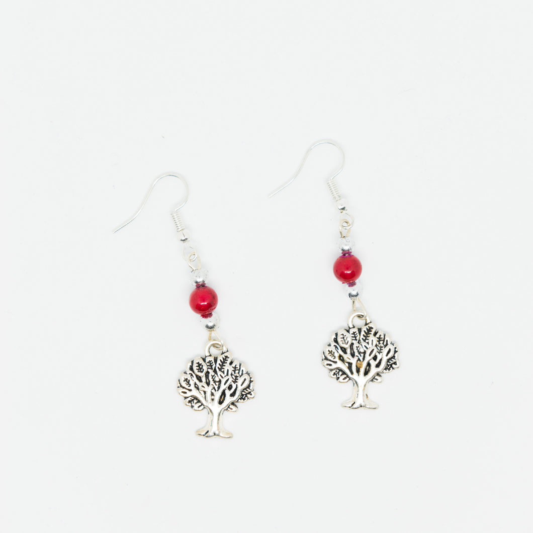 Handmade sliver olive tree earrings with red beads - Falastini Brand