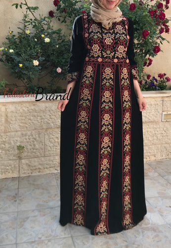 Palestine dress - Floral Palestinian Style Embroidered Dress