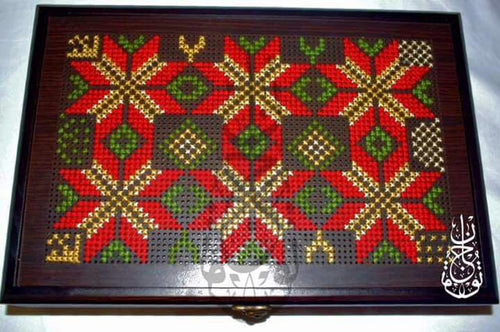 Wooden box with red and green embroidery - Falastini Brand