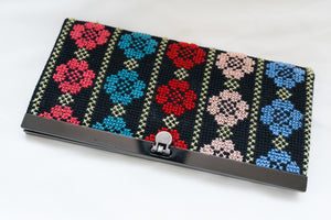 Colored flowers embroidered wallet - Falastini Brand