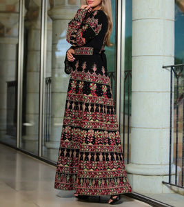 Version 2.2 Queen Thobe Embroidered Palestinian Maxi Dress Long Sleeves Kaftan Palestinian Design And Embroidery