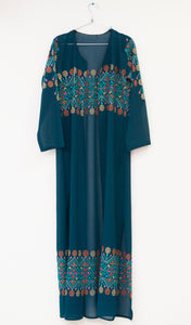 Light turquoise embroidered long kimono/abaya with belt - Falastini Brand