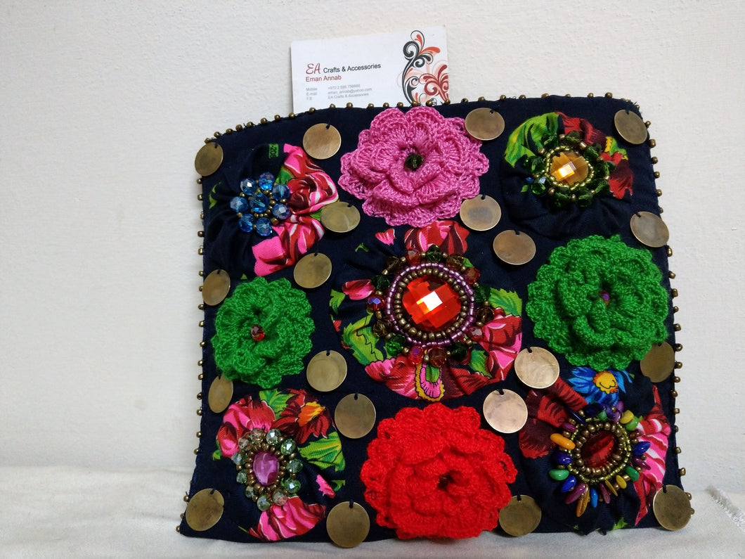 Amazing Handmade Navy Textile Small Purse Decorated With Crochet Flowers