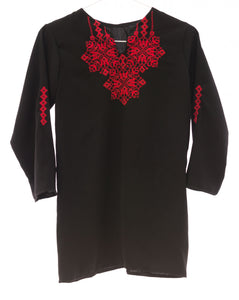 Black Razan soft fabric blouse with red Palestinian embroidery - Falastini Brand