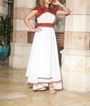 Stunning White Cloche Long Dress Palestinian Embroidery Short Sleeve