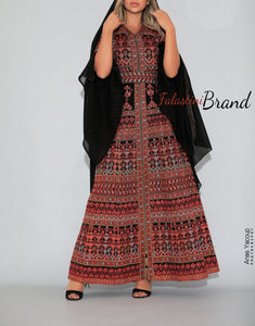 Version 5 Red Palestinian Queen Thobe Embroidered Dress Long Sleeve Palestinian Design And Embroidery