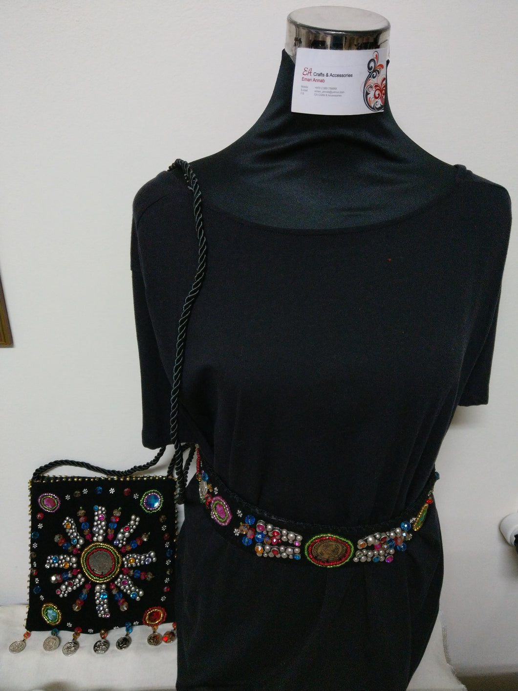 Handmade boho style handbag and belt set - Falastini Brand