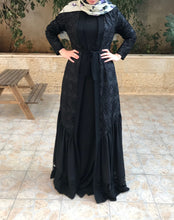 Elegant Black 2 Pieces Open Abaya Long Sleeve