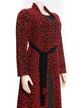Stylish red embroidered long jacket with full embroidery all sides