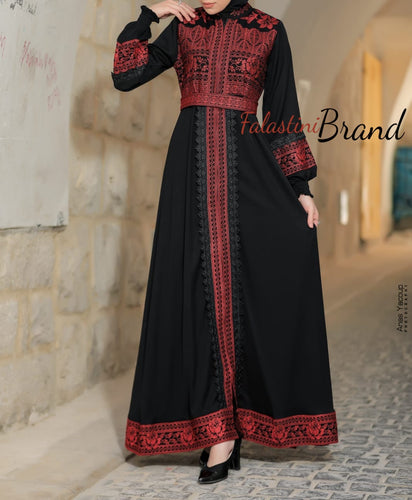 Soft Stunning Palestinian Embroidered Zipper Detail Abaya Red Embroidery
