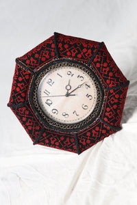 Vintage style red embroidered wall clock