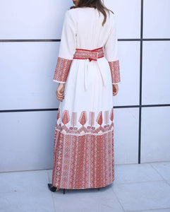 Amazing Beige/Offwhite Palestinian Embroidered Thobe Caftan Dress