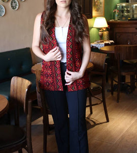 Sleeveless Palestinian Embroidered Jacket Red and Black Vest