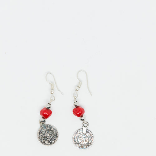 Handmade medium sized old Palestinian coin earrings with red beads - Falastini Brand