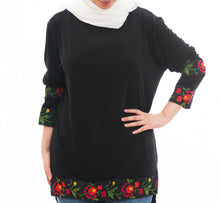 Black lycra blouse with special hand embroidery - Falastini Brand