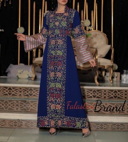 2 Pieces Distinctive Blue Palestinian Embroidered Colorful Abaya Saya Sleeve