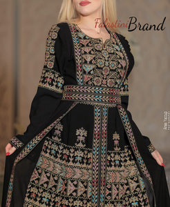 Amazing Golden Wing Dress Palestinian Embroidered Thobe Long Sleeves