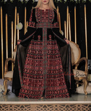 Amazing Black & Red Wing Dress Palestinian Embroidered Thobe Long Sleeves