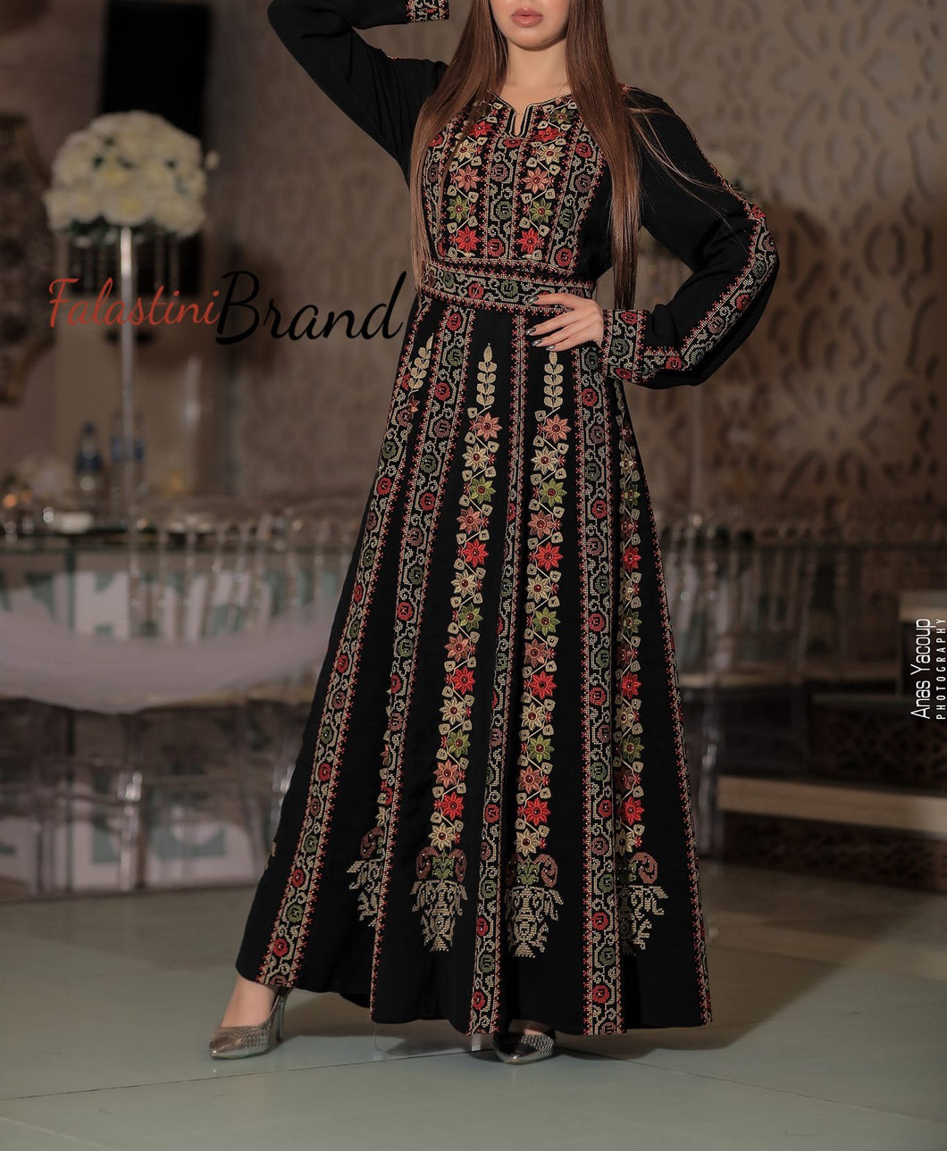 Amazing Floral Palestinian Embroidered Thobe Dress Long Sleeves