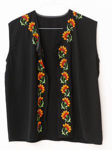 Black vest with embroidery - Falastini Brand