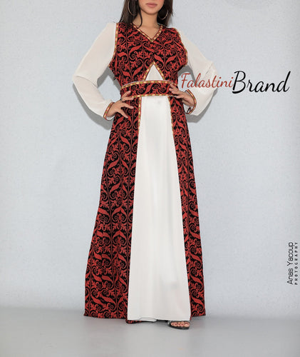 Gorgeous White Long Dress Long Sleeve Stylish Red Embroidery