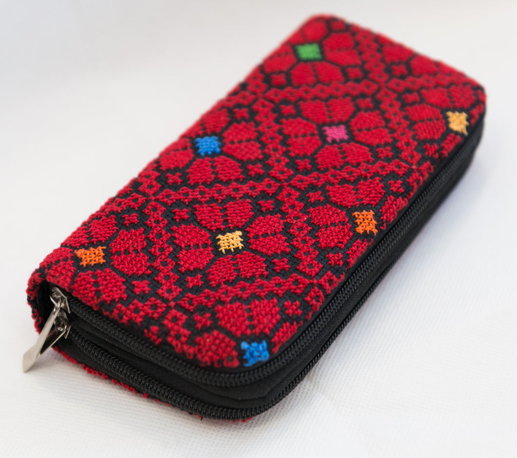 Embroidered purse with two zippers - Falastini Brand