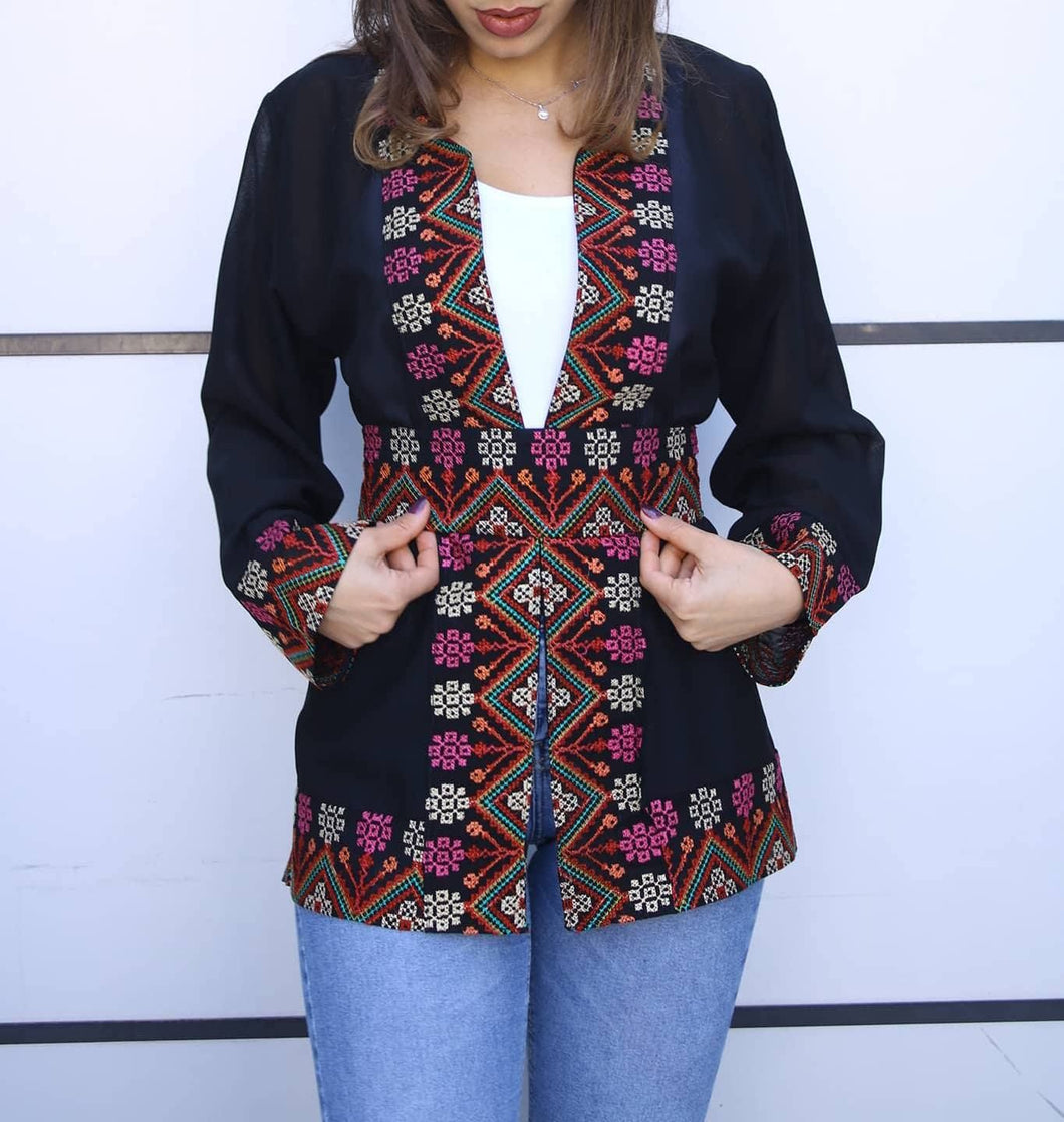 Black Georgette Open Jacket With Stylish Embroidery V3