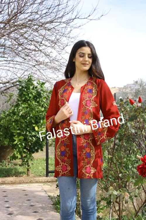 Stylish Burgundy Floral Palestinian Embroidered Jacket
