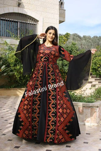 Amazing Black Velvet Palestinian Floral Embroidered Henna Gown Dress