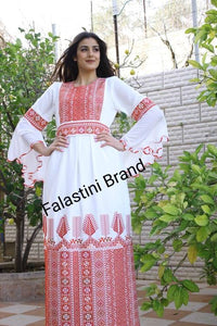 Stylish white Palestinian Embroidered Thobe Dress