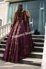 Amazing Purple Palestinian Floral Embroidered Henna Gown Dress