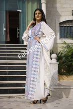 Palestinian Off White Georgette Embroidered Open Abaya Dress Long Sleeve