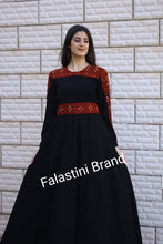 Elegant Black Palestinian Embroidered Dress