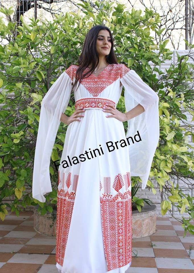 Stylish white Palestinian Embroidered Open Thobe Dress