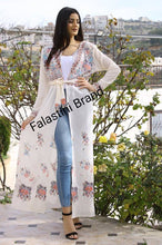 Palestinian Offwhite Georgette Floral Embroidered Open Cloche Abaya Dress Long Sleeve