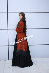Stylish New Design Black Palestinian Embroidered Dress