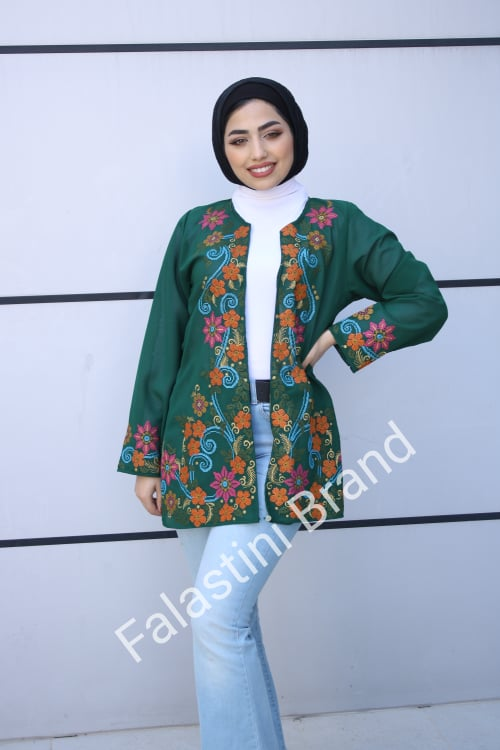 Stylish Green Base Palestinian Embroidered Jacket