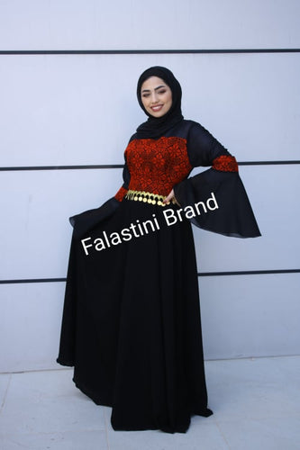 Wonderful Black Palestinian Embroidered Dress Bell Sleeves