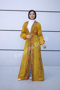 Wonderful Palestinian Mustard Georgette Nol Embroidered Open Abaya Maxi Dress Long Buff Sleeve