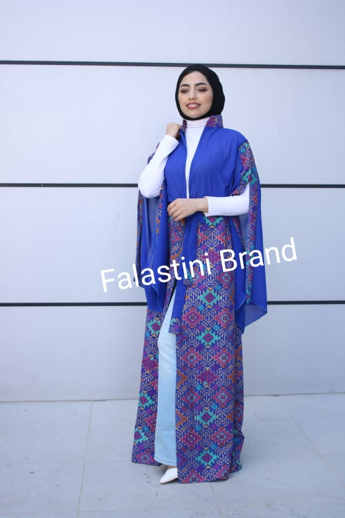 New Palestinian Blue Georgette Embroidered Open Abaya Dress Long Sleeve With Stylish Embroidery