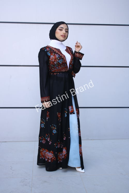 Palestinian Black Georgette Floral Embroidered Open Cloche Abaya Dress Long Sleeve