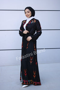 Amazing Open Black Embroidered Palestinian Abaya Dress