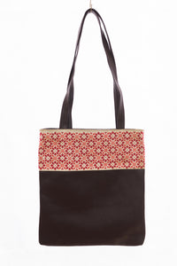 Brown hand embroidered handbag - Falastini Brand