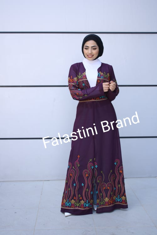 Amazing Open Purple Embroidered Palestinian Abaya Dress