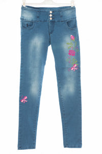 Hand embroidered skinny stretch jeans - Falastini Brand