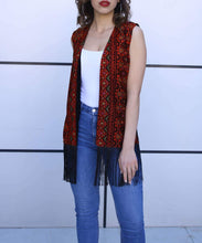 Palestinian Embroidered Red and Black Vest Fring Hem