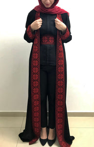 Black embroidered abaya/maxi jacket with stylish red embroidery - Falastini Brand