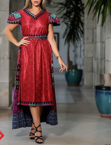 Gorgeous Red Short Dress Short Sleeve Embroidered Back